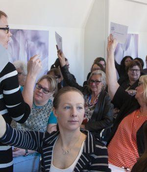 Votering på Liberala Kvinnors landsmöte.
